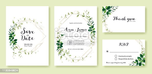 Greenery wedding Invitation, save the date, thank you, rsvp card Design template. Lemon leaf, silver dollar, olive leaves, Ivy plants. Vector.
