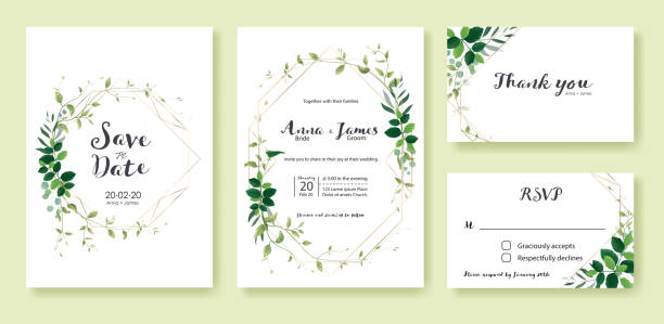 greenery wedding invitation, save the date, thank you, rsvp card design template. lemon leaf, silver dollar, olive leaves, ivy plants. - thank you background stock illustrations