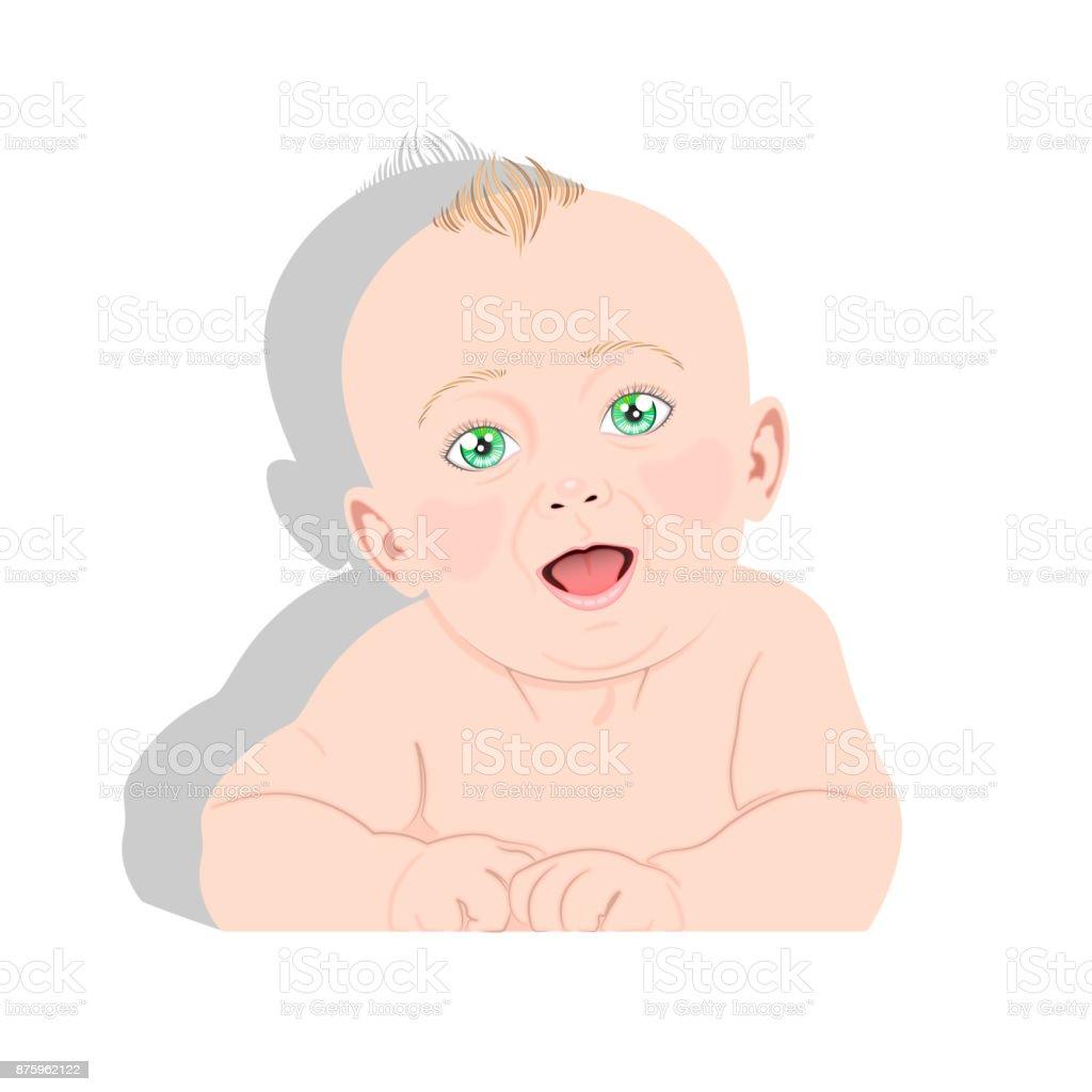 Green-eyed baby vector vector art illustration