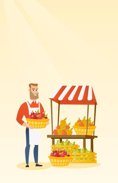 gemüsehändler hält kiste voller äpfel - rechtsassistent stock-grafiken, -clipart, -cartoons und -symbole