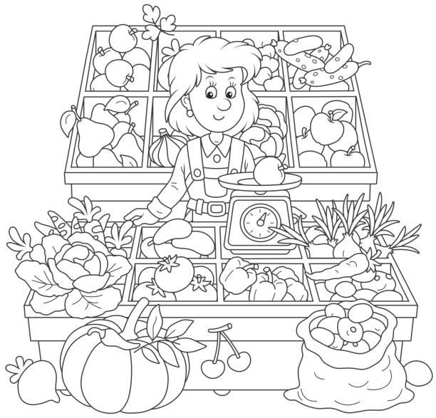illustrazioni stock, clip art, cartoni animati e icone di tendenza di greengrocer in a market - pesche bambino