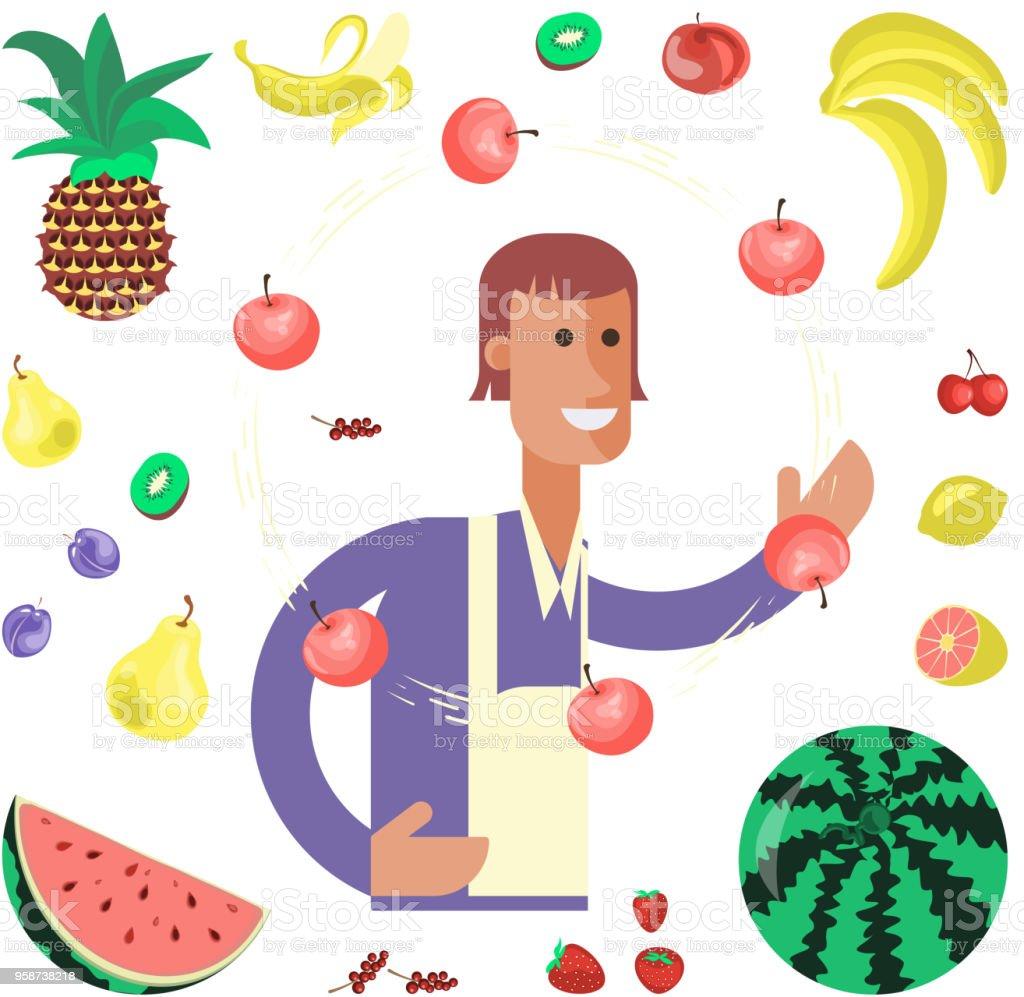 Greengrocery seller character vector art illustration