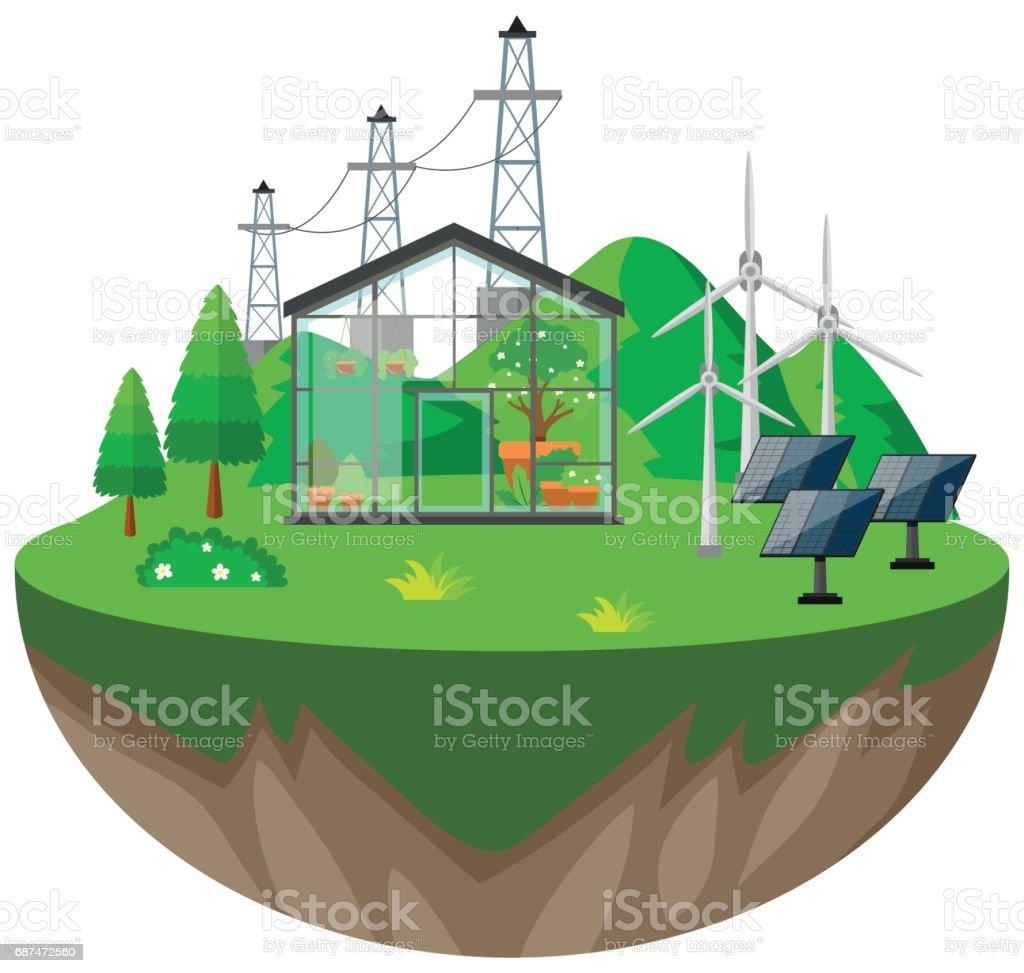 Broeikasgassen en wind turbines - Royalty-free Achtergrond - Thema vectorkunst