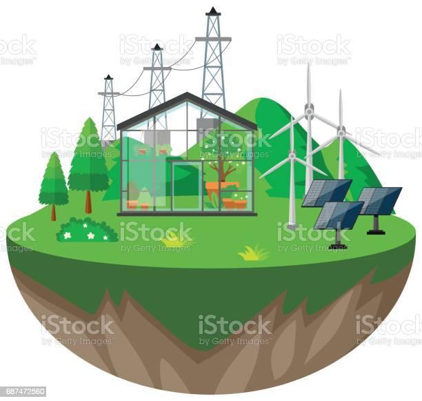 Broeikasgassen En Wind Turbines Stockvectorkunst en meer beelden van Achtergrond - Thema