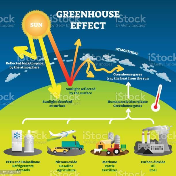 Bilddiagram För Vektorillustration För Växthuseffekt-vektorgrafik och fler bilder på Diagram