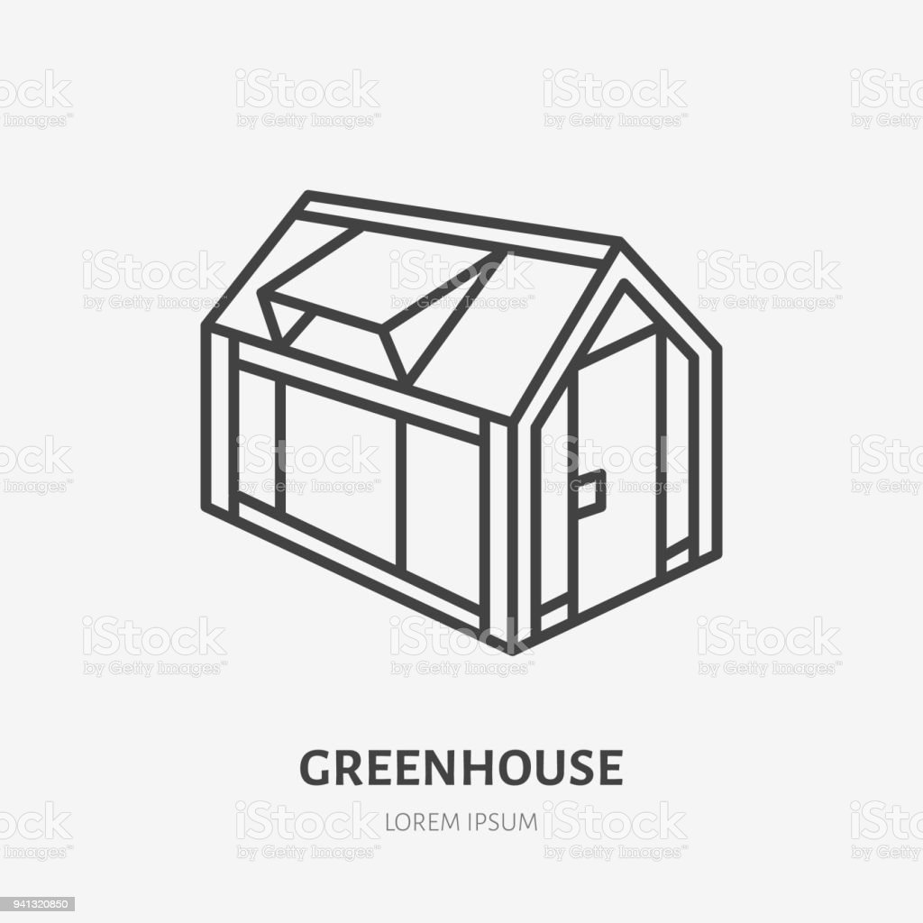 Greenhouse Flat Line Icon Garden Cold Frame Sign Thin Linear Logo ...