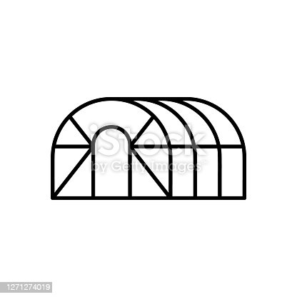 Greenhouse hemisphere. Linear icon of frame glasshouse for gardening, agriculture. Black simple illustration of oval conservatory. Contour isolated vector emblem on white background
