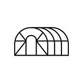 istock Greenhouse hemisphere. Linear icon 1271274019