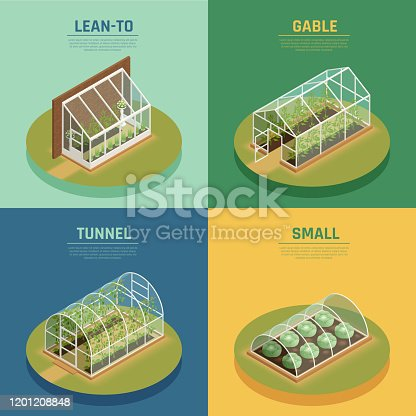 Greenhouses conservatory varieties 4 isometric icons square with glasshouse cable supported greenery arch hothouse isolated vector illustration