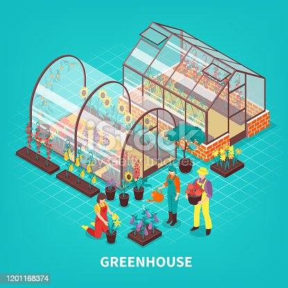 Colored greenhouse isometric composition with gardeners workers who are looking after plants vector illustration
