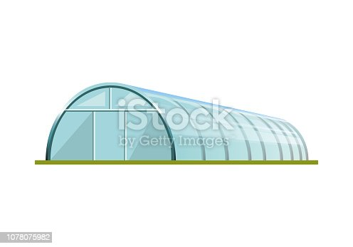 Greenhouse with polyethylene film. Vector illustration isolated on white background