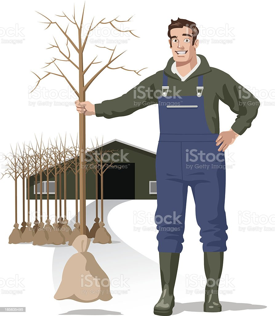 greenkeeper with trees vector art illustration
