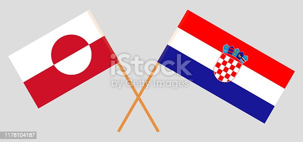 Greenland and Croatia. Crossed Greenlandic and Croatian flags. Official colors. Correct proportion. Vector illustration