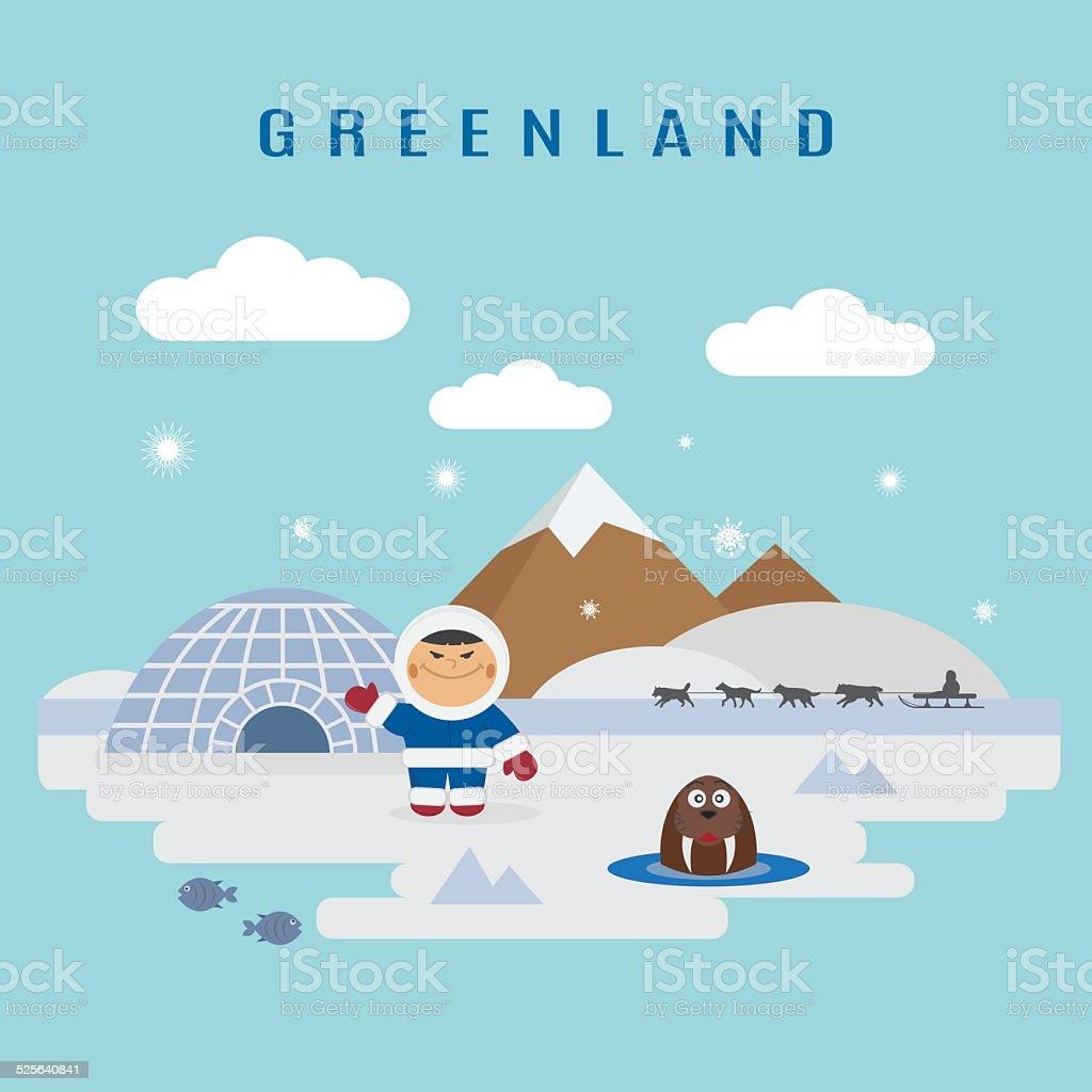 Greenland landscape vector art illustration