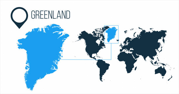 Greenland map located on a world map with flag and map pointer or pin. Infographic map. Vector illustration isolated on white background. Greenland map located on a world map with flag and map pointer or pin. Infographic map. Vector illustration isolated on white greenland stock illustrations
