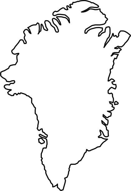 Greenland map of black contour curves on white background of vector illustration Greenland map of black contour curves on white background of vector illustration greenland stock illustrations
