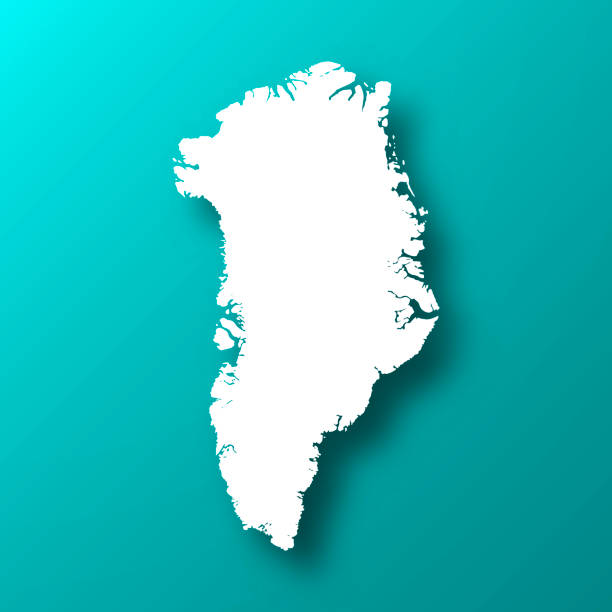 Greenland map on Blue Green background with shadow White map of Greenland isolated on a trendy color, a blue green background and with a dropshadow. Vector Illustration (EPS10, well layered and grouped). Easy to edit, manipulate, resize or colorize. greenland stock illustrations