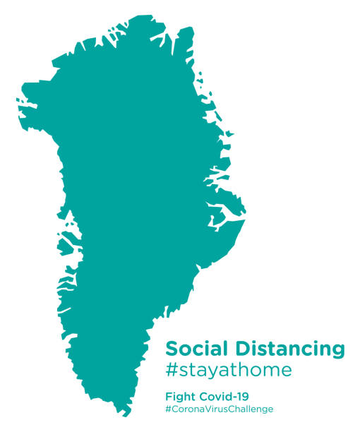 Greenland map with Social Distancing #stayathome tag Greenland map with Social Distancing #stayathome tag greenland stock illustrations