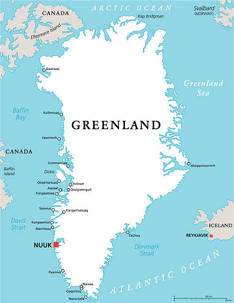 Greenland Political Map Greenland Political Map with capital Nuuk and important cities. Autonomous country within the Kingdom of Denmark. English labeling and scaling. Illustration. greenland stock illustrations