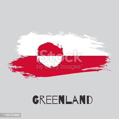 Greenland vector watercolor national country flag icon. Hand drawn illustration with dry brush stains, strokes, spots isolated on gray background. Painted grunge style texture for poster banner design
