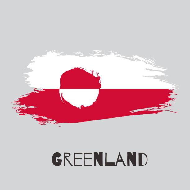 Greenland vector watercolor national country flag icon Greenland vector watercolor national country flag icon. Hand drawn illustration with dry brush stains, strokes, spots isolated on gray background. Painted grunge style texture for poster banner design greenland stock illustrations
