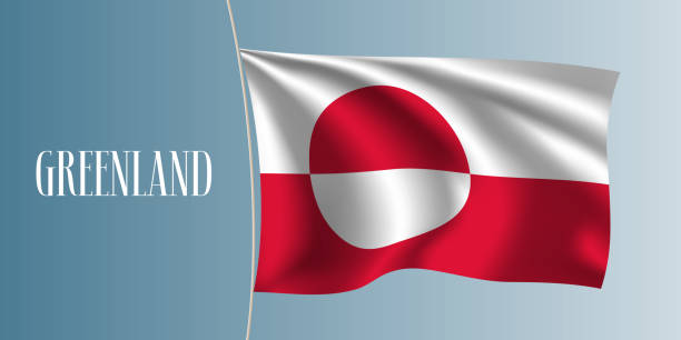 Greenland waving flag vector illustration Greenland waving flag vector illustration. Iconic design element  as a national Greenlandian symbol greenland stock illustrations