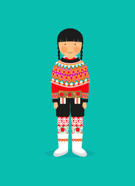 Greenlandic national costume for women vector art illustration