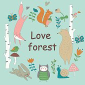 Forest background with cute fox, bear, squirrel, owl, bunny, snail, birds and flowers in cartoon style. 'Love forest' poster