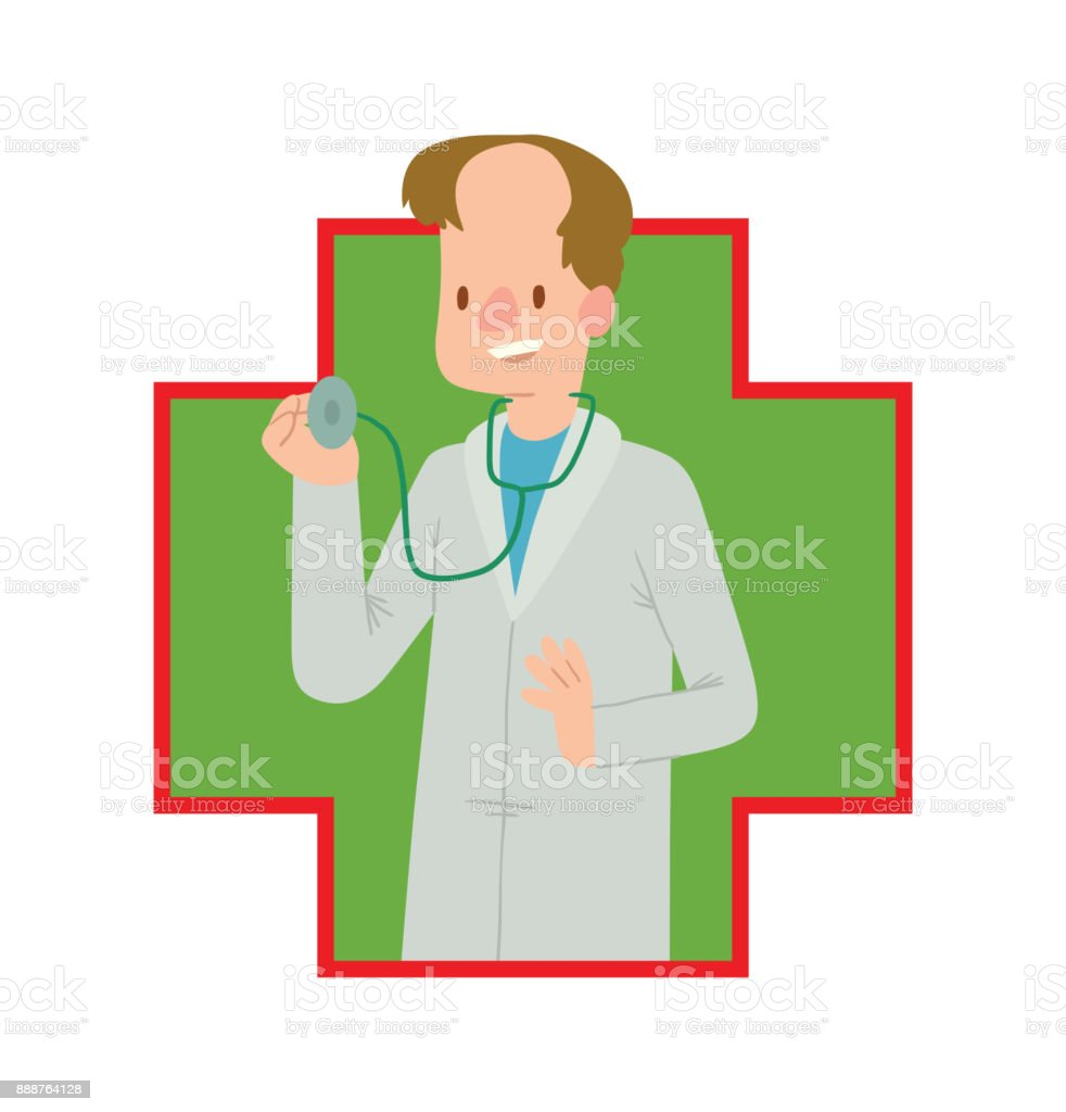 Green-red frame, man doctor with brown hair vector art illustration