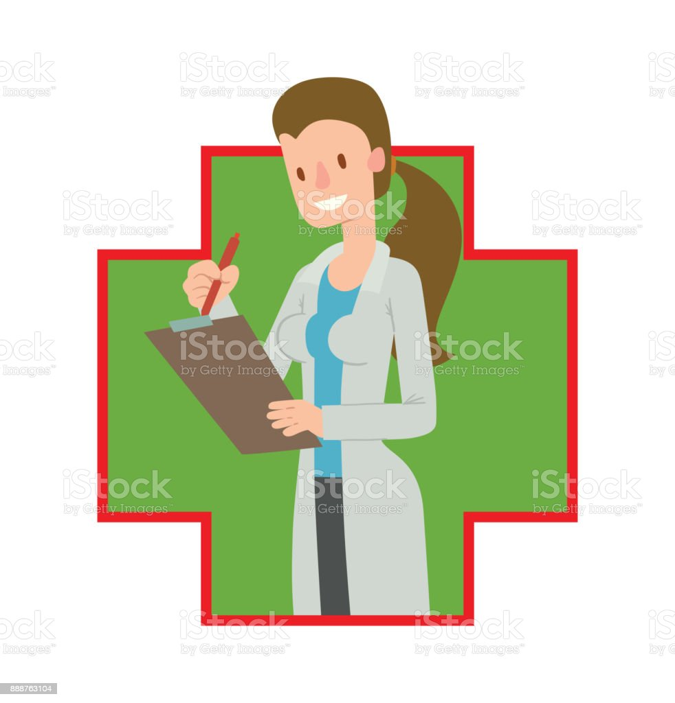 Green-red frame, woman doctor with long brown hair vector art illustration
