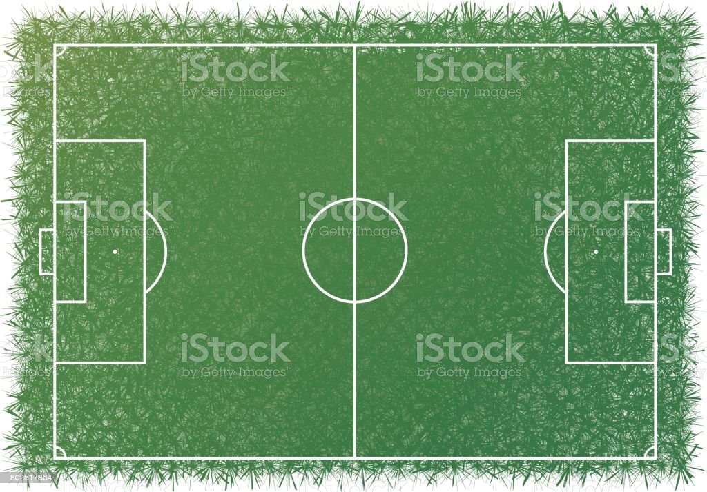 Greensward white line football soccer scale. vector art illustration