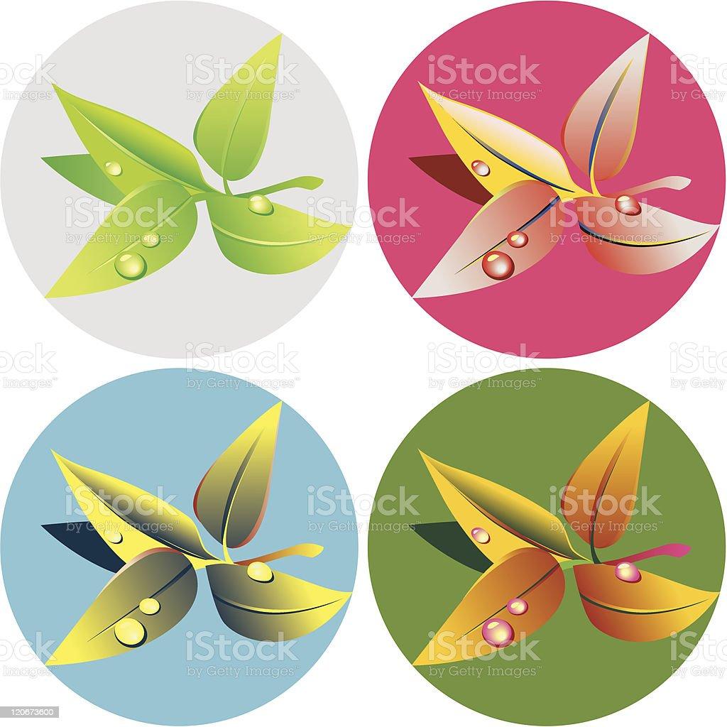 green-tea-leaves-popart royalty-free stock vector art