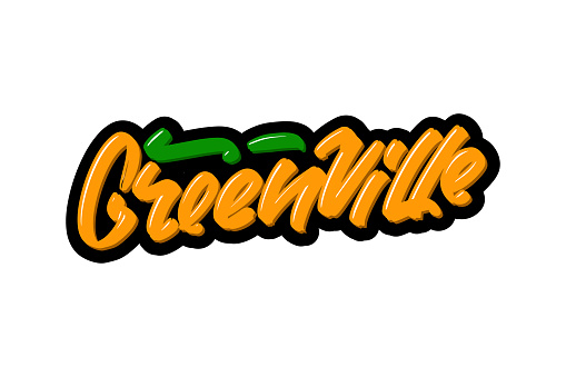 Greenville hand drawn modern brush lettering. Vector illustration logo text for webpage, print and advertising.