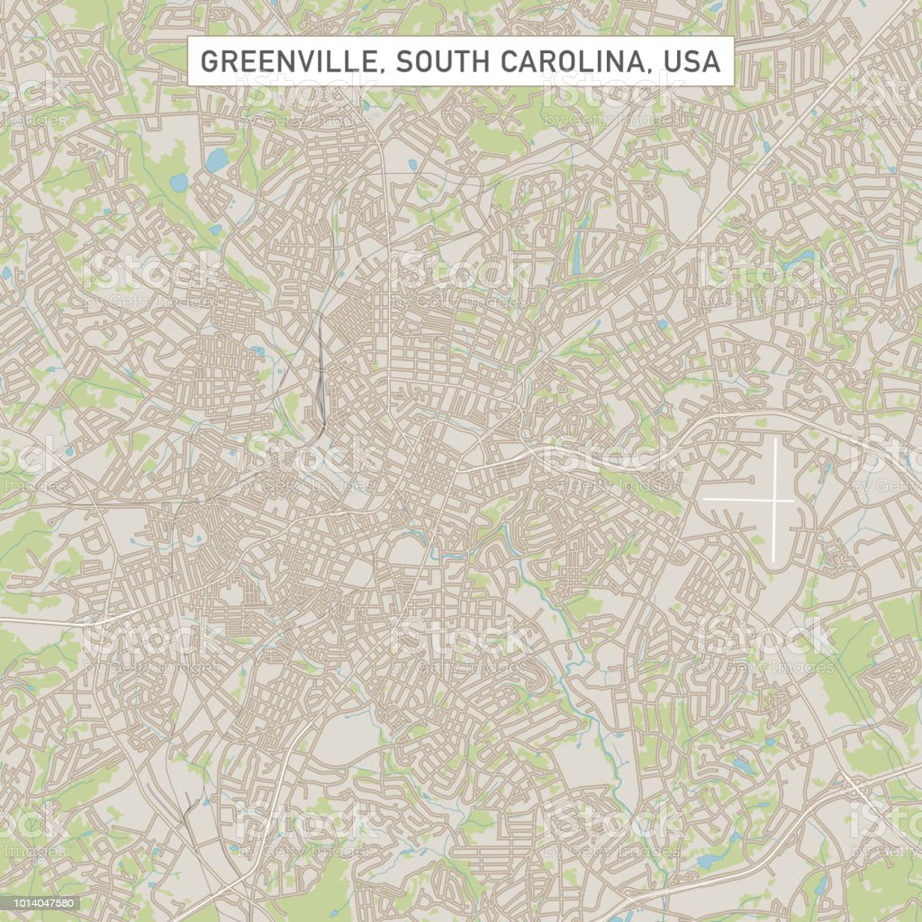 Greenville South Carolina Us City Street Map Stock Vector Art & More ...