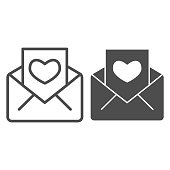 Greeting and envelope line and solid icon. Letter and valentine card with heart symbol, outline style pictogram on white background. Love holiday sign for mobile concept, web design. Vector graphics