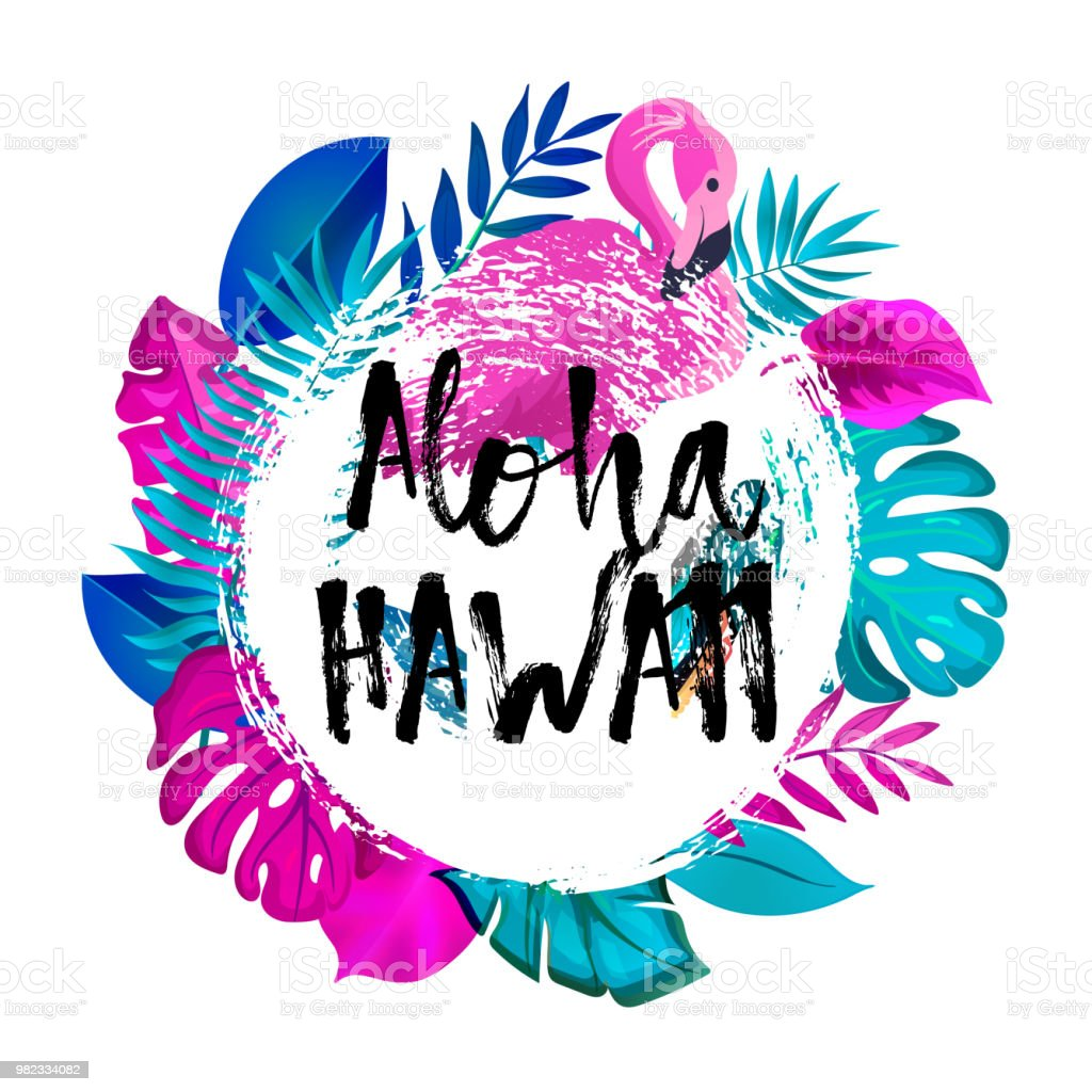 Aloha hawaii greeting banner tropical palm leaves and pink flamingo aloha hawaii greeting banner tropical palm leaves and pink flamingo on ink background royalty m4hsunfo
