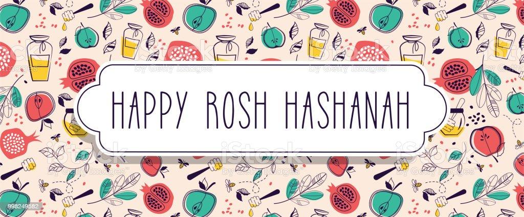 Greeting Banner With Symbols Of Jewish Holiday Rosh Hashana New Year
