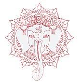 Greeting Beautiful card with Elephant.  Hinduism God Ganesha with mandala.