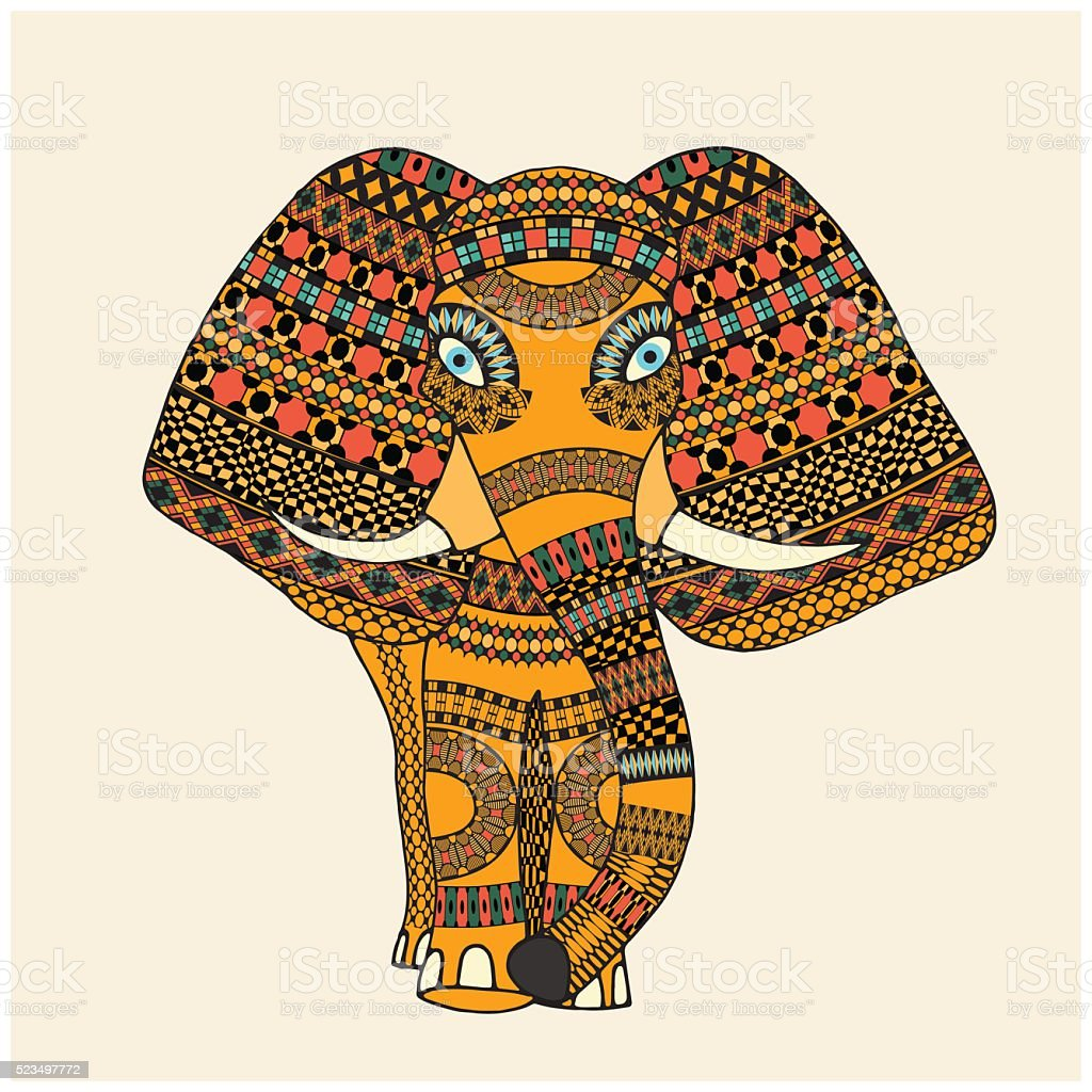 Greeting Beautiful Elephant vector art illustration