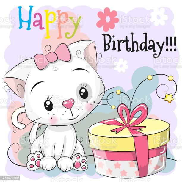 Greeting birthday card cute kitten with gift vector id943077852?b=1&k=6&m=943077852&s=612x612&h=qcibkzgqfplezul8qiln auqihuk9cdvwliceu 9ype=