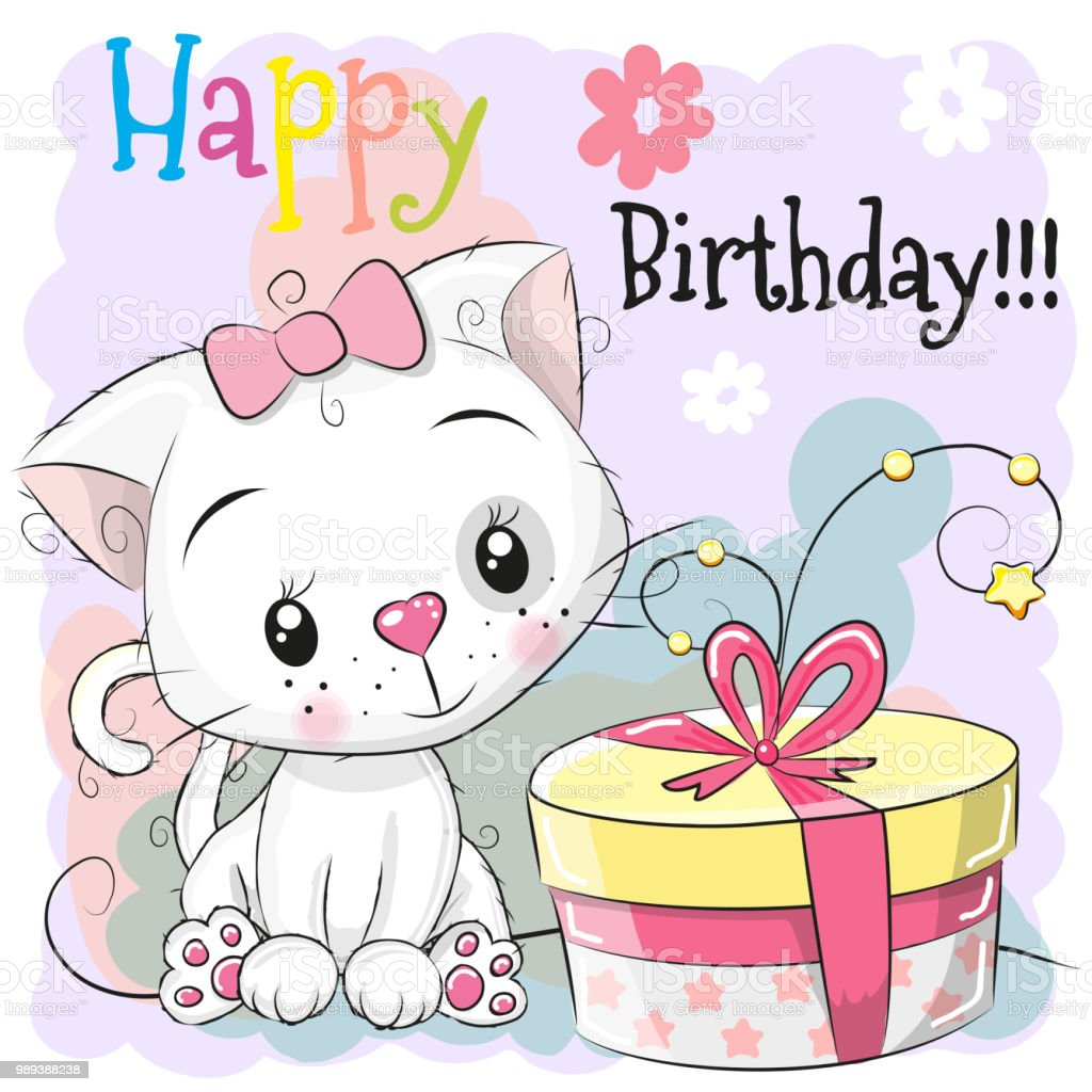 Greeting Birthday Card Cute Kitten With Gift Stock Vector Art More