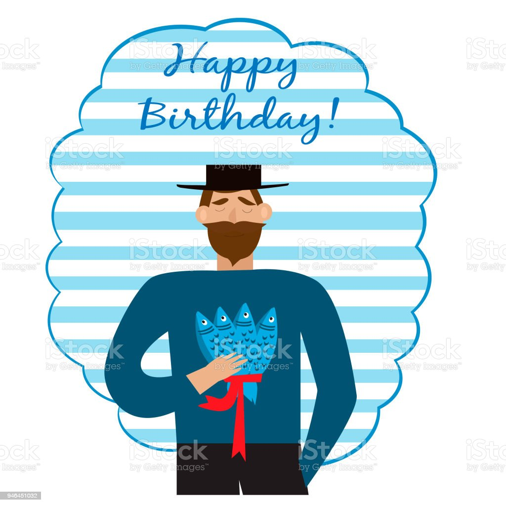 Greeting Birthday Card With Bearded Man Fishes
