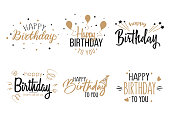 Greeting birthday party calligraphy flat icon collection. Isolated handwritten black and gold inscriptions vector illustration set. Happy birthday celebration concept
