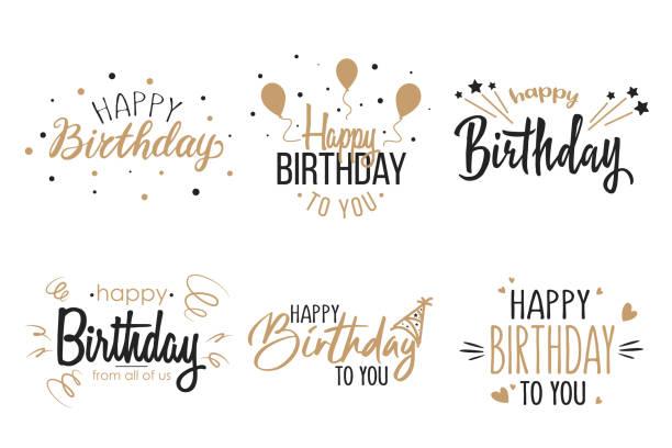 ilustraciones, imágenes clip art, dibujos animados e iconos de stock de saludo fiesta de cumpleaños caligrafía colección de icono plano - cumpleaños