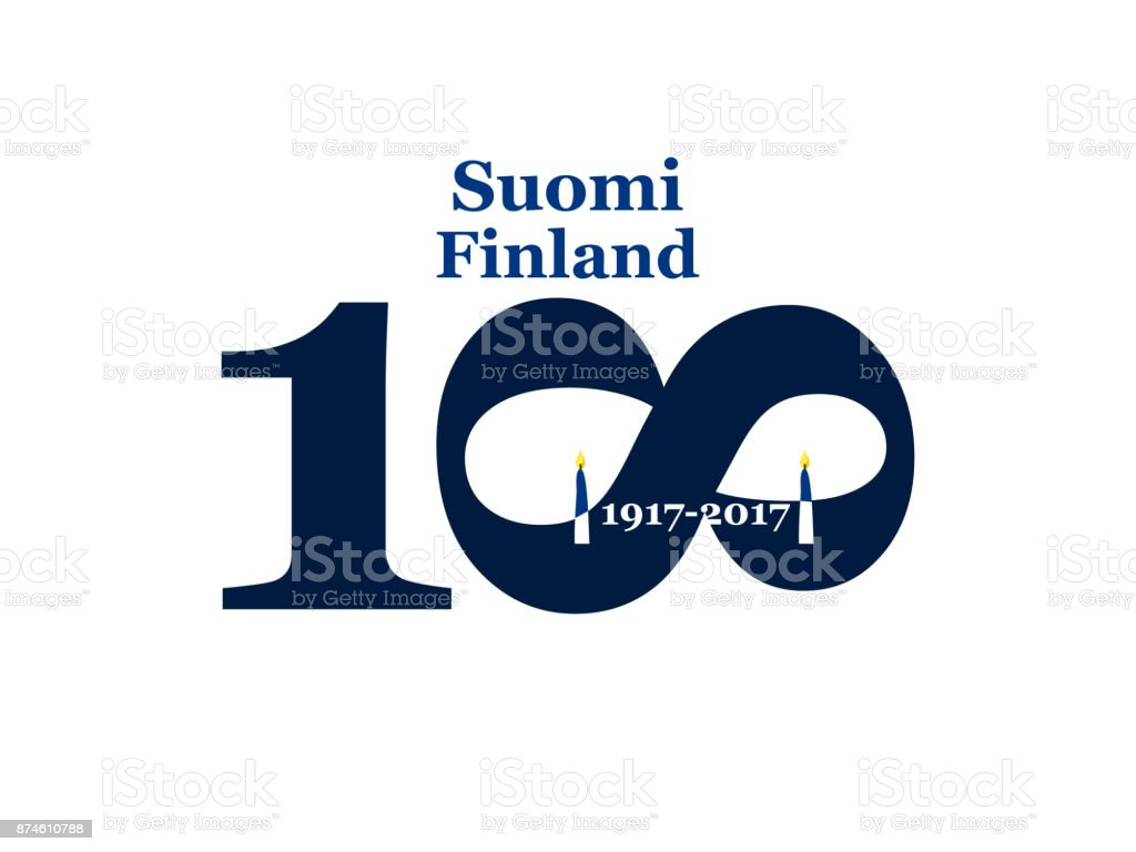 Greeting Card 100 anniversary of the independence of Finland. December 6th vector art illustration