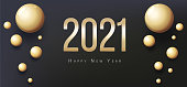 2021 Happy New Year Greeting Card. Gold balls and place for text. Flyer, poster, invitation or banner. Succinct luxury design. Black background