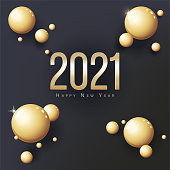 2021 Happy New Year Greeting Card. Gold balls and place for text. Flyer, poster, invitation or banner. Concise luxury design. Black background. 3D