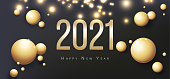 2021 Happy New Year Greeting Card. Gold balls on black backgroundand. Flyer, poster, invitation or banner. Succinct luxury design.