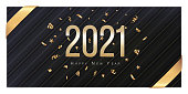 2021 Happy New Year Greeting Card. Gold confetti and numbers on black background. Flyer, poster, voucher, invitation or banner. Succinct luxury design