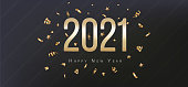2021 Happy New Year Greeting Card. Gold confetti and numbers on black background. Flyer, poster, invitation or banner. Succinct luxury design
